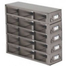 """Stainless Steel Upright Freezer Drawer Rack for 36"""" (W) or 33"""" (W) 25-Place Slide Boxes - 15 Boxes - 11.3"""" (L) x 8.6"""" (H)"""