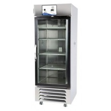 Capacity: 27 cu. ft.; One hinged glass door; 4 Shelves; White exterior; SS liner; 115V 60Hz